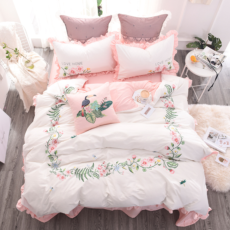 100%Cotton Embroidery White Pink Cute Bedding Set Queen King size Girls Duvet cover Bed sheet/linen set Decorative Pillowcase100%Cotton Embroidery White Pink Cute Bedding Set Queen King size Girls Duvet cover Bed sheet/linen set Decorative Pillowcase