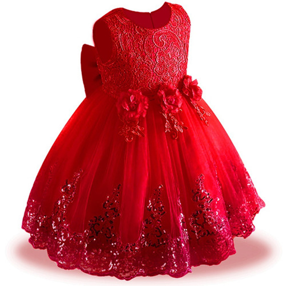 Todder Kids Bridesmaid Wedding Flower Girls Dress Baby Lace Sequins Princess Dress Girls Party Dresses for 3 5 6 8 10 12 Years