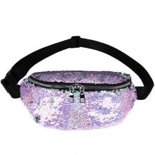 12PCS / LOT Fashion Sequin Waist Pack for Women Chest Bags Glitter Belt Bag For Teenager Girls Fanny
