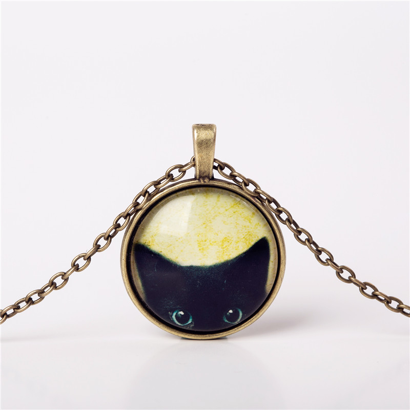 2016 Fashion Necklaces Glass Cabochon Bronze Chain Necklace Tradition Black Cat Picture Vintage Pendant For Women choker