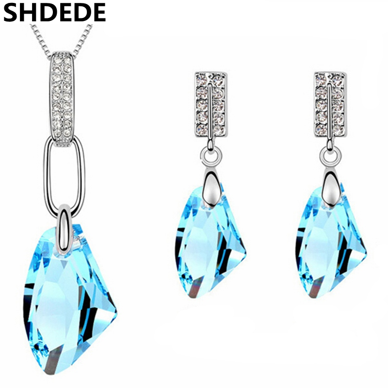 SHDEDE Blue Crystal from Swarovski Fashion Jewelry Sets Necklace Earrings For Women Accessories Wedding Jewellery -6324 plus size skew collar sequined trim overlay t shirt