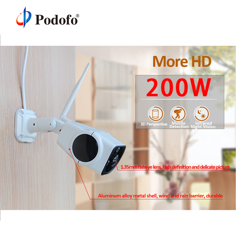 Podofo 2M Metal Bullet IP Camera Wifi 1080P 960P Wireless Wired Waterproof P2P CCTV Surveillance Outdoor