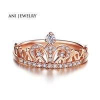 ANI 18K White/Yellow/Rose Gold (AU750) Women Wedding Ring 0.2 CT I J/SI Certified Natural Diamond Fashion Crown Engagement Ring