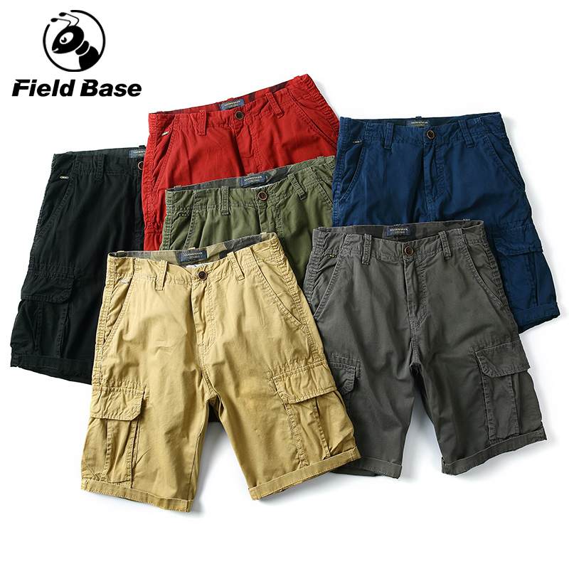 Field Base Brand 2018 Mens Shorts Casual Compression Male Solid Color Cargo Shorts Men Cotton Fashion Men Thin Short Summer