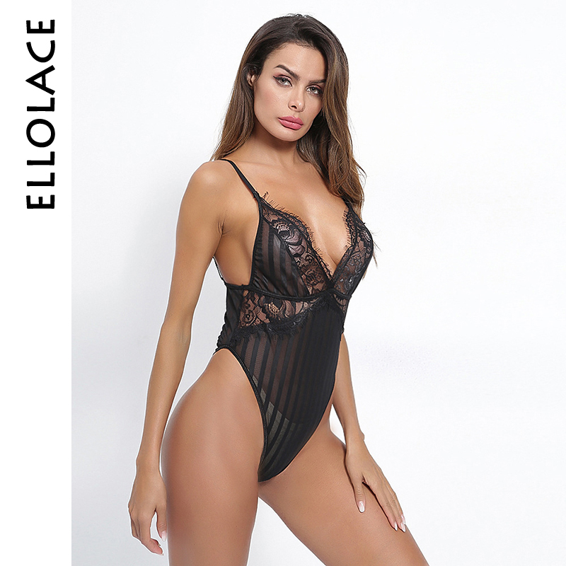 Ellolace Sexy Black White Red Lace Cup V Neck Mesh Bodysuit Sleeveless Hollow Out Shoulder Strap Sexy Jumpsuit Teddies Bodysuits