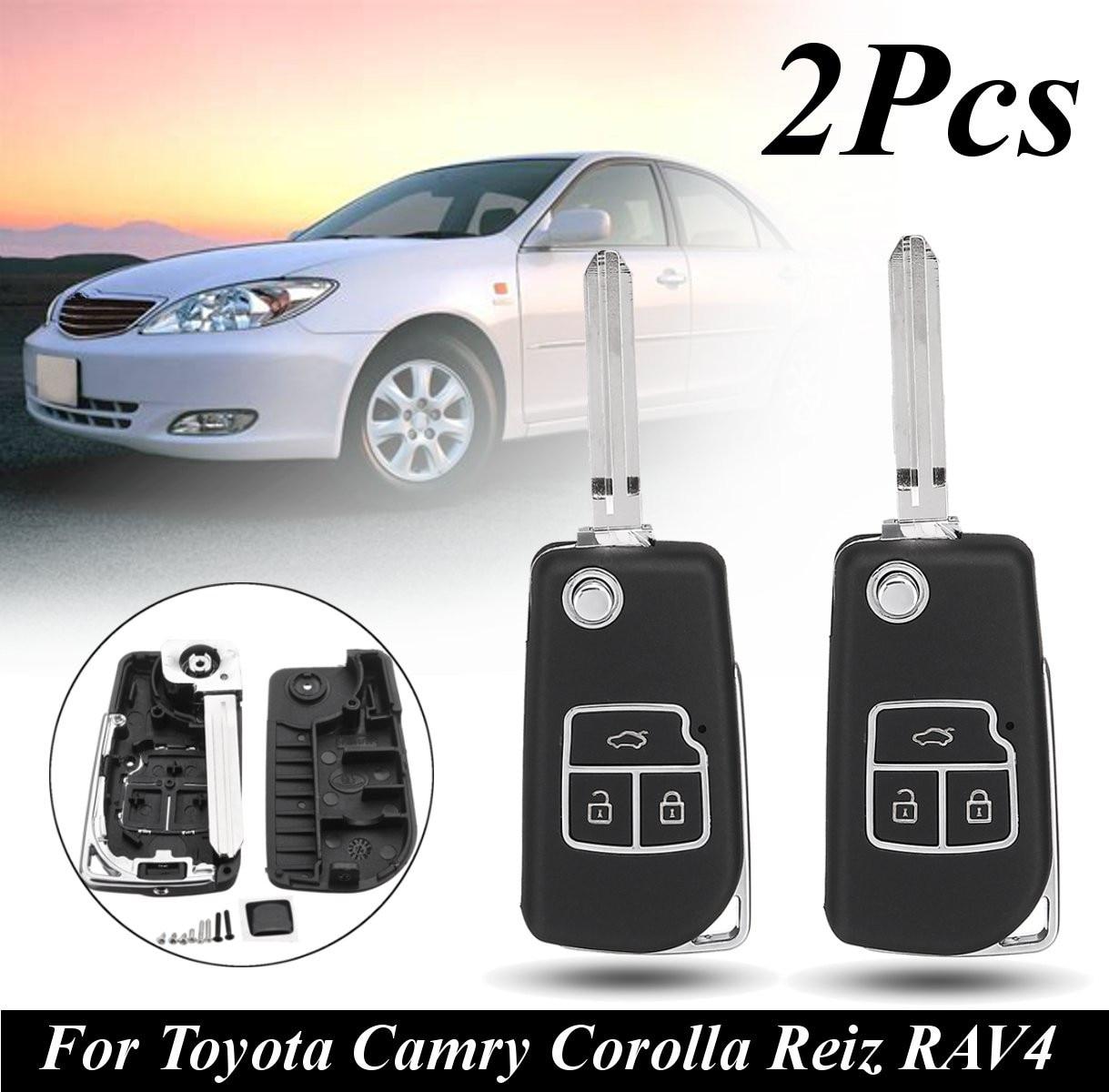 2 шт. 3 кнопки дистанционного ключа автомобиля чехол ж/лезвия для Toyota Camry Corolla Reiz RAV4