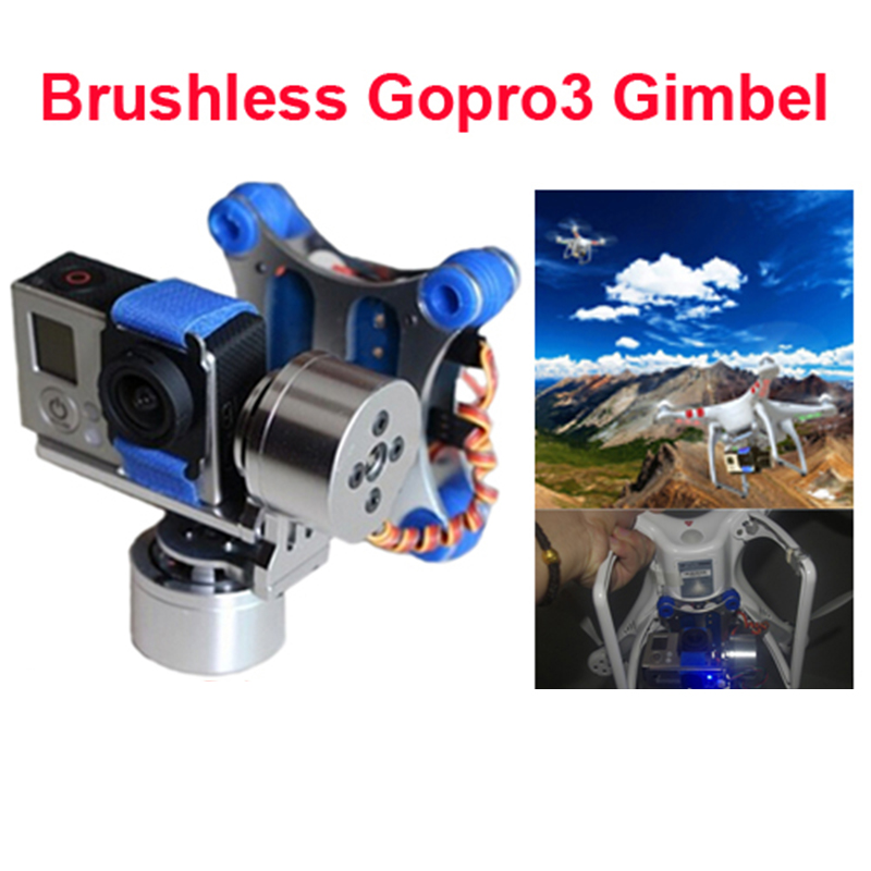 Free shipping Gopro 2 3 CNC Metal Brushless Camera Gimbal with Motors & Controller 3k carbon fiber brushless gimbal with controller motors full plug