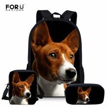 FORUDESIGNS Basenji Dog School Bags For Teenager Girls travel Backpacks kids Schoolbag Backpack 3pcs schoolbags mochila infantil