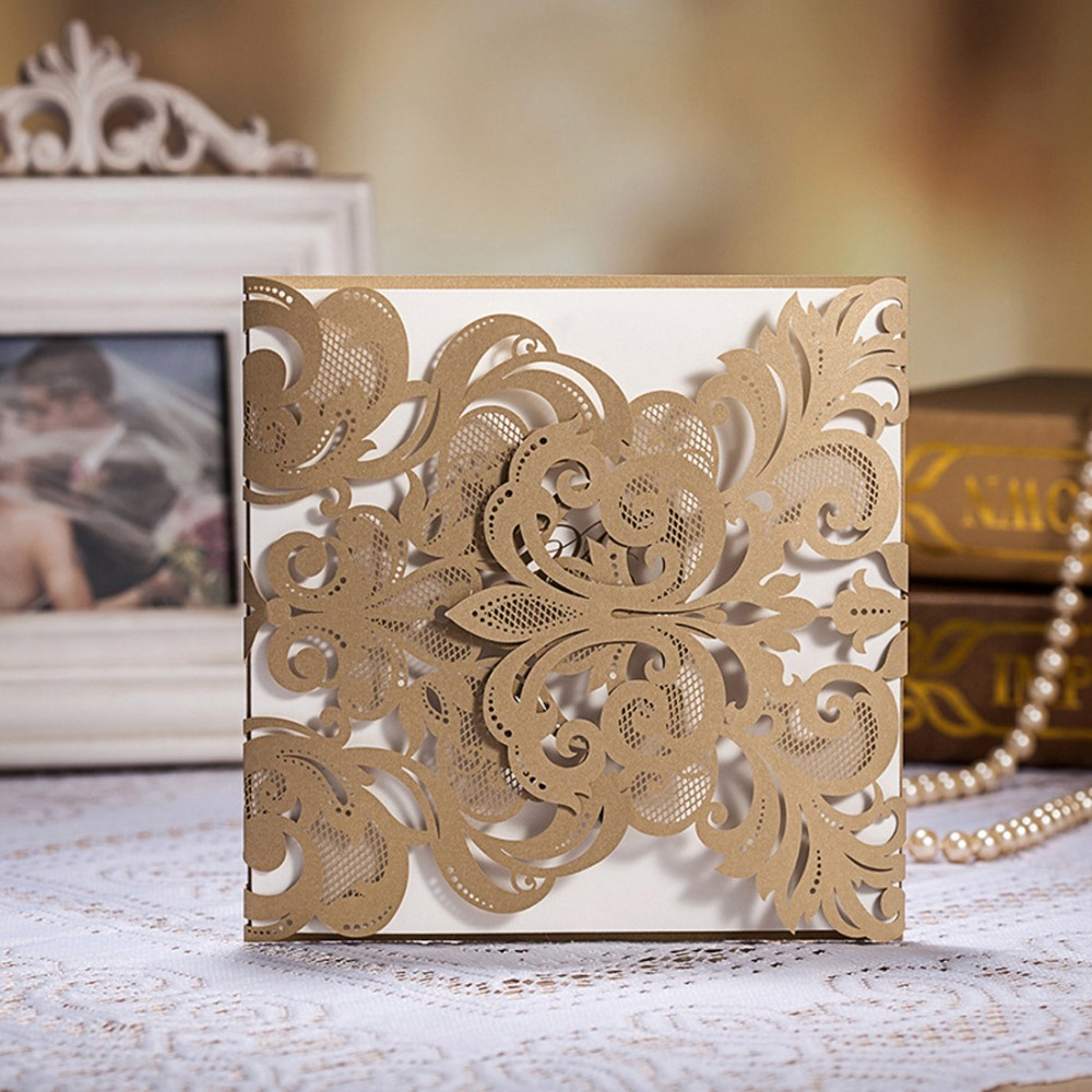 Wedding Invitations Laser Cut Paper: Laser Cut Wedding Invitations Cards Gold Lace Engagement