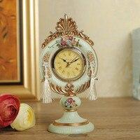 AIBEI Europe Style Victoria Resin Desk Table Clocks Mini classical Rose Retro Clock Home Decoration