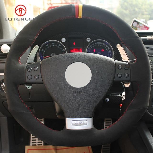 Online Shop Lqtenleo Black Suede Diy Hand Stitched Car Steering