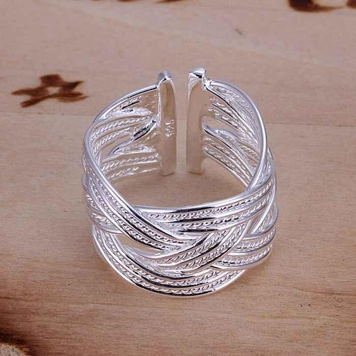 เงิน 925 แหวนแฟชั่น Big Net ทอผ้าเงินเครื่องประดับ Ring แหวนผู้หญิงแหวนนิ้วมือของขวัญ SMTR024