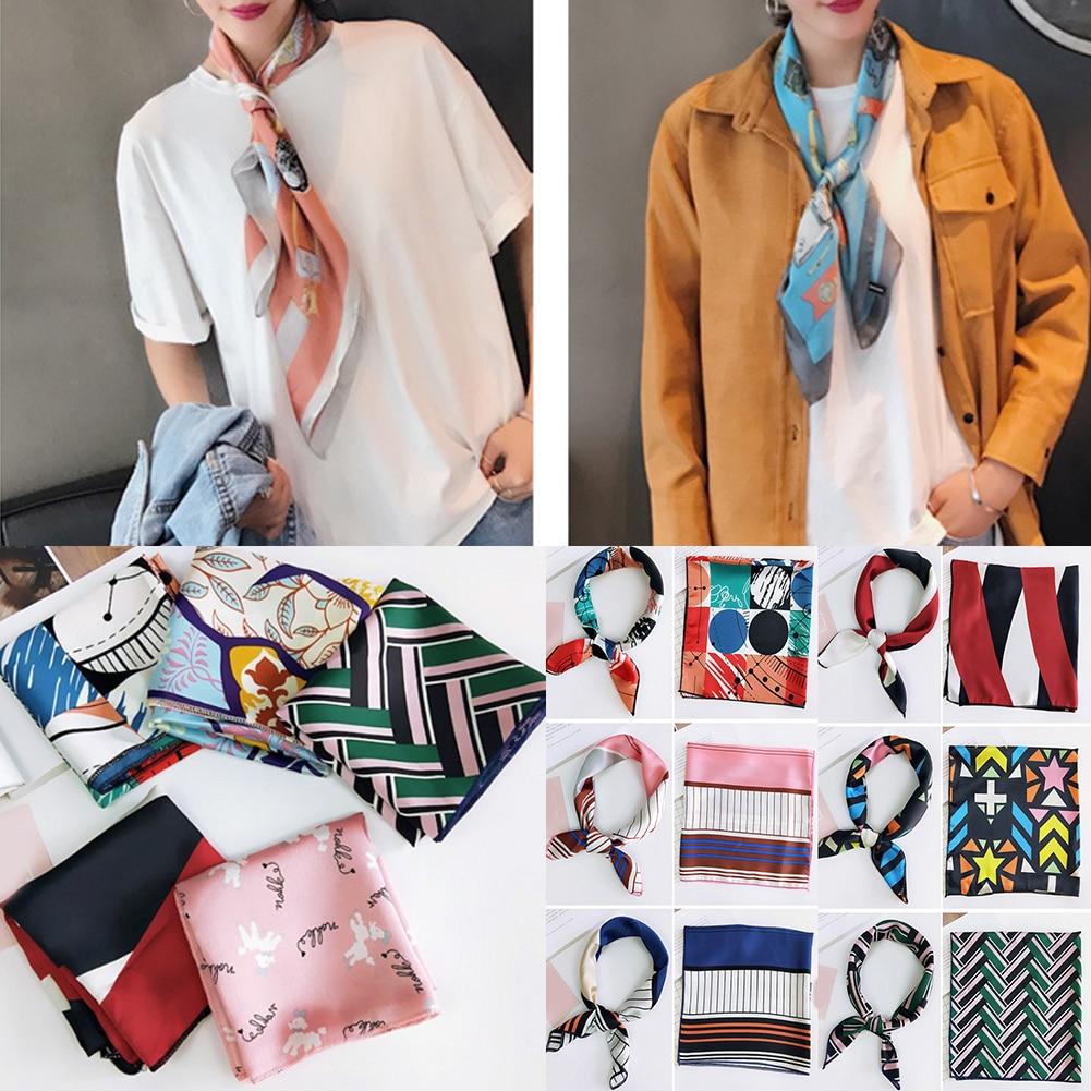 Fashion Striped Floral Printed Silk Scarf Small Square Scarf Hair Tie Band 50*50CM DIY Girls Women Head Neck Wrap Handkerchief