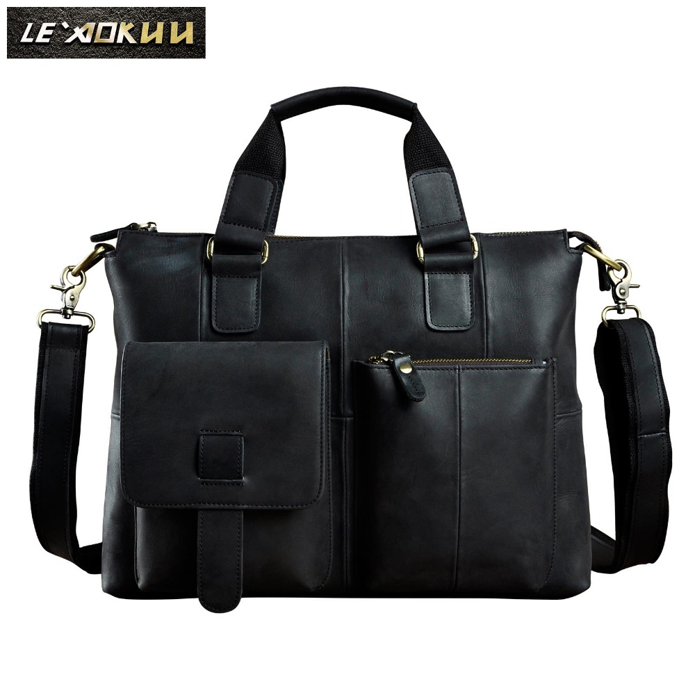 Men Original Leather Design Antique Retro Travel Business Briefcase 15