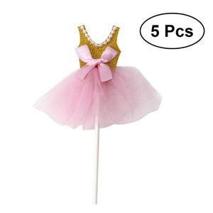 Image 2 - 5Pcs Bling Bling Ballerina Rock Tutus Kleid Kuchen Topper Party Cupcake Fahnen Kuchen Dekoration Obst Picks Für Thema Event a3