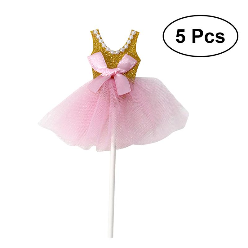 Image 2 - 5Pcs Bling Bling Ballerina Skirt Tutus Dress Cake Topper Party Cupcake Flags Cake Decoration Fruits Picks For Theme Event A3-in Cake Decorating Supplies from Home & Garden