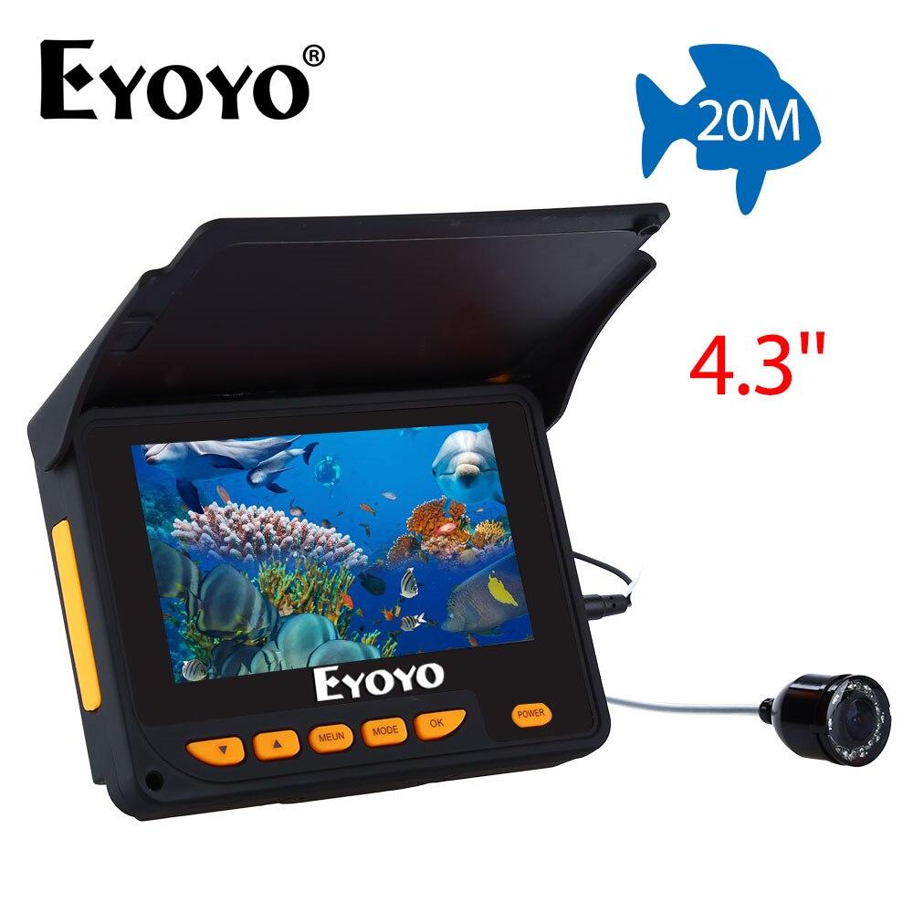 Eyoyo 20M HD 1000TVL Underwater Ice Fishing Camera Video Fish Finder 4.3 LCD 8pcs IR LED 150 Degrees Angle 2 4g wireless fish finder underwater fishing camera video free soft app 50m underwater breeding monitoring for fish searching