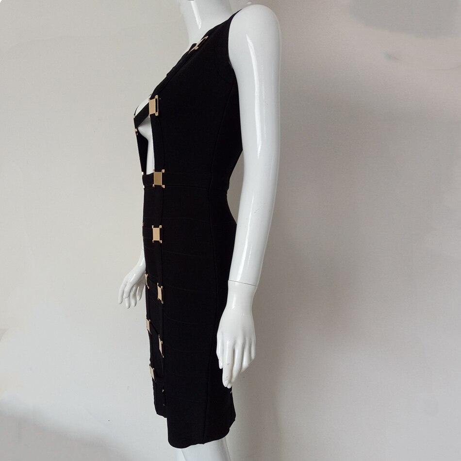 Noir D'été Soirée Moulante Fashion Sans Black Sexy Femmes 2018 Manches Évider Celebrity Robes Club Bandage gwqxIYWp