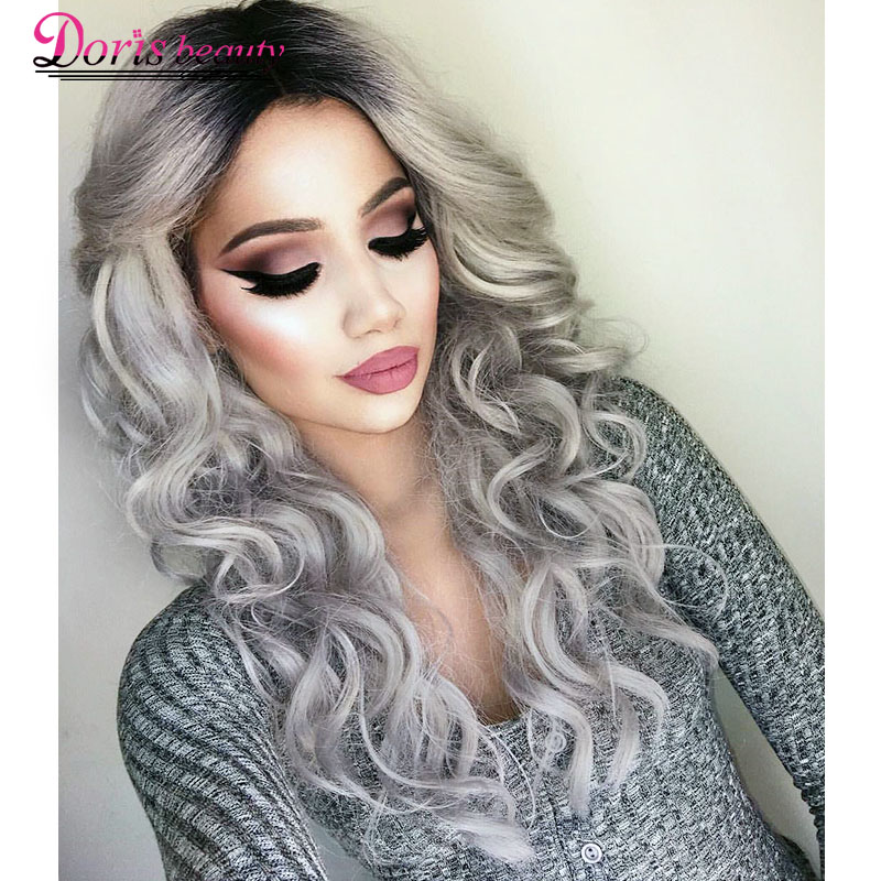 Doris beauty Ombre Gray Wavy Synthetic Wigs for Black Women Long Wigs with Middle Part Cosplay Hair Heat Resistant Fiber