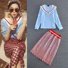 High Quality New Celebrity Inspired Style 2016 Autumn Women V-Neck Blue Tops Blouses+Hollow Out Sequined Skirt(1Set)2 Piece Suit