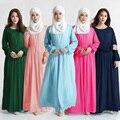 Sólido Encaje Gasa Vestido de Las Mujeres Más El Tamaño Túnica Dubai Hijab Musulmán Árabe Kaftan Abaya Ropa Islámica del Pakistán Vestidos # MDA009