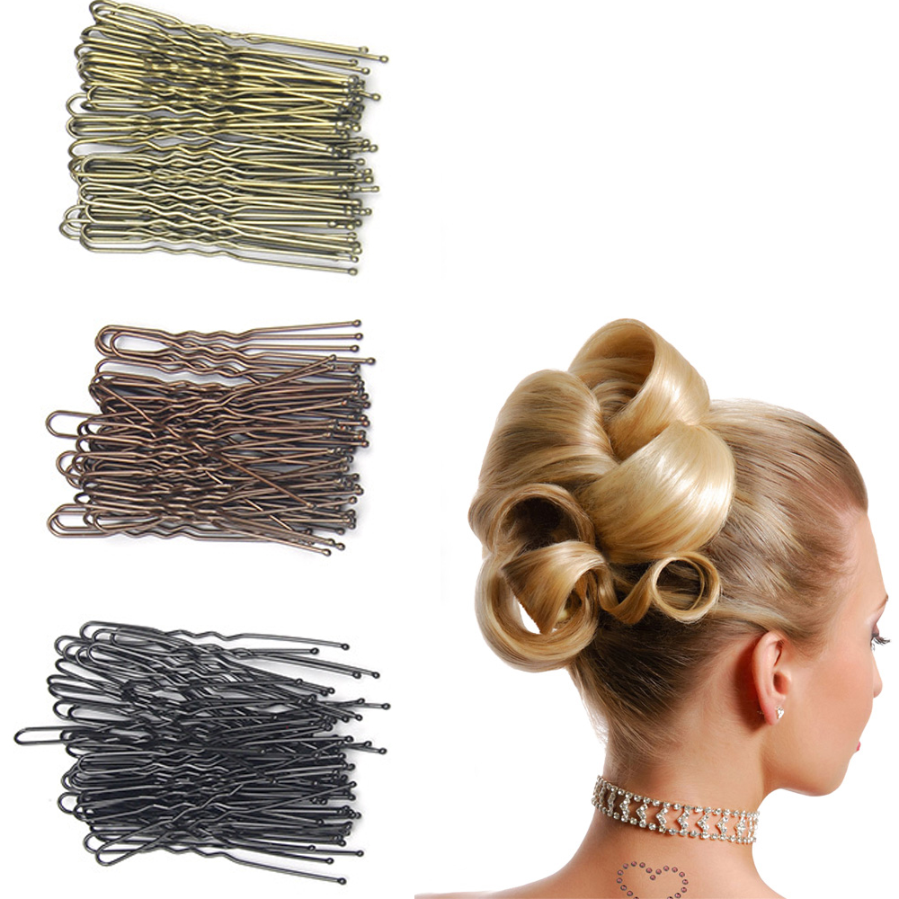 5PCs Gold Black Brown U Shaped Hair Pin Hair Styling Jewelry Bobby Pin Clip Metal Hairpin Women Hair Accessories Z243-5PC