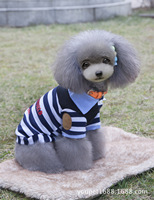 New Products 2017 Pet Clothes Puppy Dog Cat Vests Shirt Apparel Costume Stripe Polo T Shirt