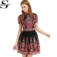 Sheinside Embroidery Party Dress Women Black Vintage Mesh Overlay Boho Skater Summer Dresses 2017 New Cute