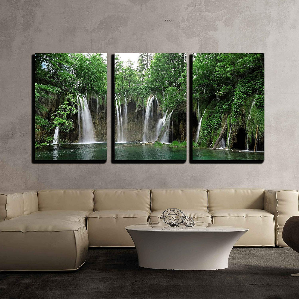 3 Piece Canvas Wall Art Waterfall in Plitvice National Park Croatia Print on Canvas Ready to