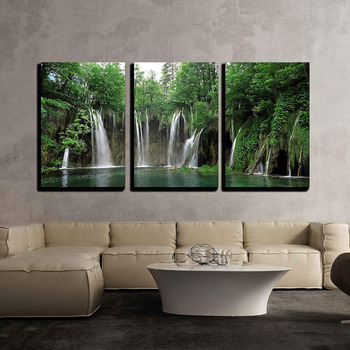 3 Piece Canvas Wall Art - Waterfall in Plitvice National Park, Croatia Print on Canvas Ready to Hang Drop shipping