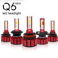 цена на 2Pcs Q6  H7/H8/H9/H11/ COB LED Headlight Bulbs H4 / 9003 / HB2 HB4 /9006 HB3 9005 H10 Auto Headlights 6000K Car Led Light