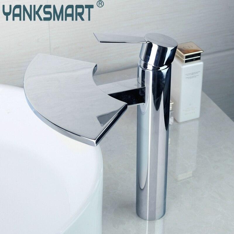 YANKSMART High Quality Brass Waterfall Basin Tap Bathroom Faucet torneira do banheiro Mixer torneira banheiro Hot & Cold Water yanksmart bath