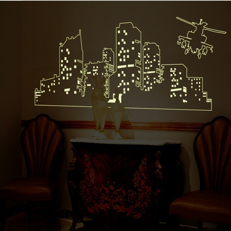 Large Fluorescent Luminous Vinyl Wall Stickers City Of The Night Sky For Kids Room Or Living Glow In Dark