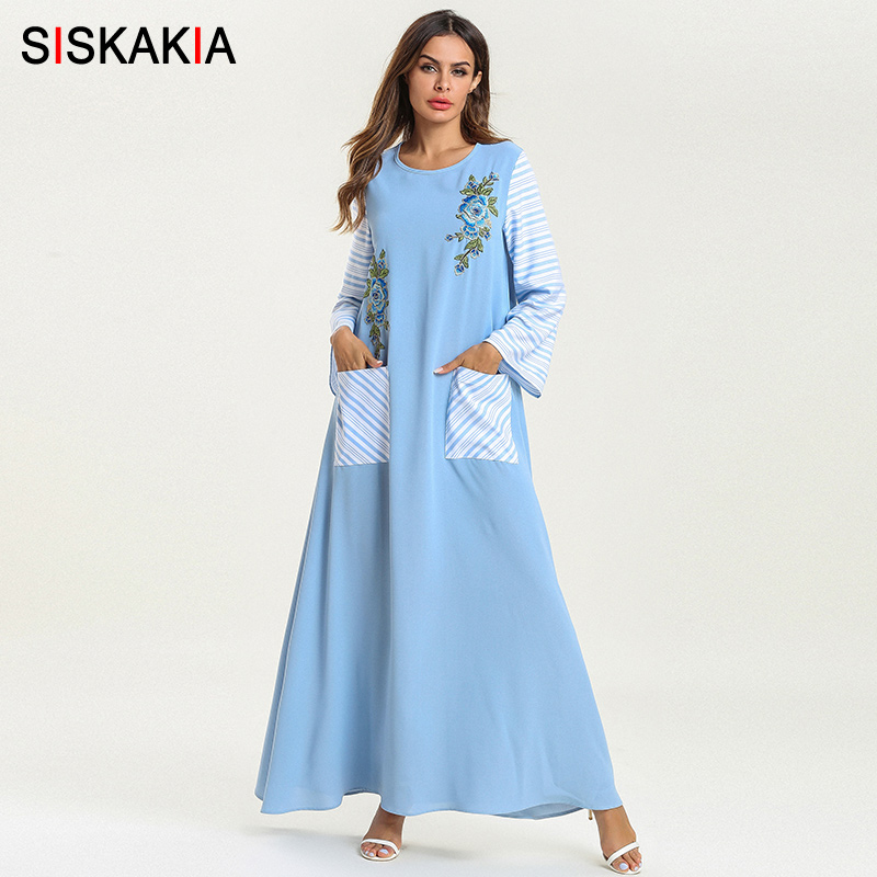 Siskakia Casual Maxi Dress Pockets Patch Stripe Patchwork Muslim Ethnic Long Dress Ramadan Comfortable Round Neck