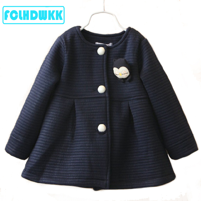 Spring Autumn Children Girls Jackets Baby Penguin Single Breasted Kids Coat Girl Outerwear Jacket For Girls Bow Girl Clothes