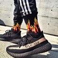 Мужские модные носки в стиле хип-хоп, хит, цвет на огне, красный огонь, пламя, фонарь, горячее тепло, Уличный Скейтборд, длинные хлопковые носк...