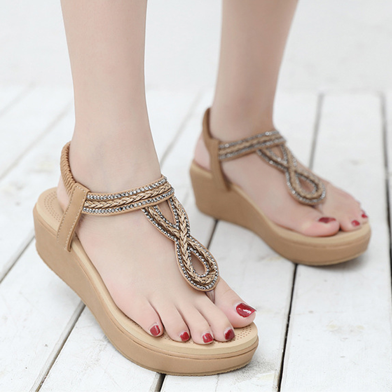 Thong Sandals Platform Wedge Flip-Flops Elastic-Band Rhinestone Women Shoes Female Plus-Size