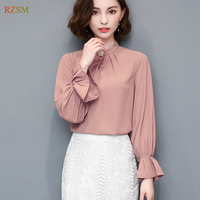 Spring Autumn New Pink White Orange Elegant Ruffles Long Sleeve OL Casual Office Women Work Blouses Stand Ladies Chiffon Shirt