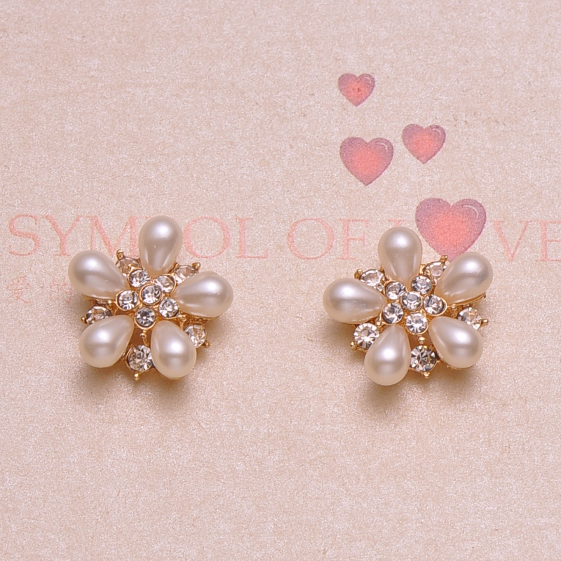 J0787 19mm diameter flower rhinestone button crystal button rose gold plating flat back pearl or