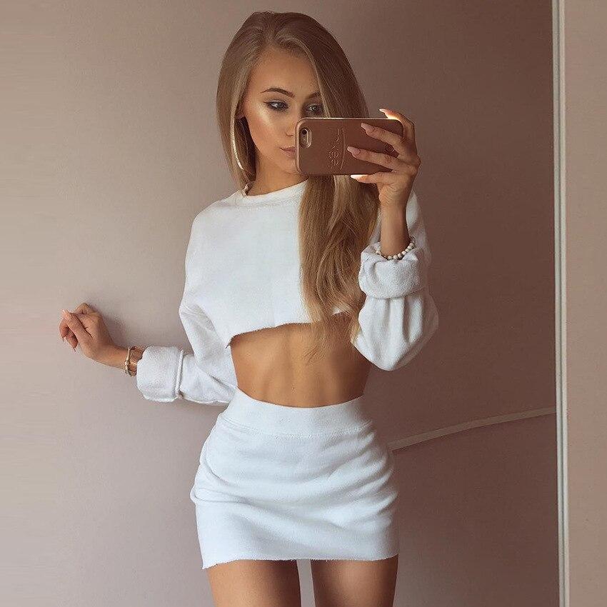 BKLD Fashion Women Two Piece Outfits Long Sleeve Crop Hoodies Sweatshirts And Mini Skirt Sets 2019 Autumn White Two Piece Set