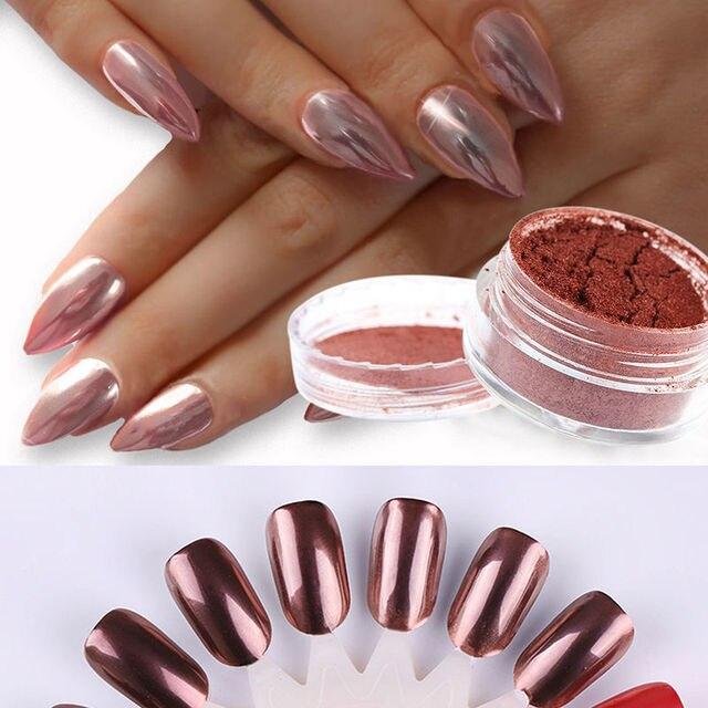 Avon Chrome Nail Powder: Rose Gold Nail Mirror Powder Nails Glitter Chrome Effect