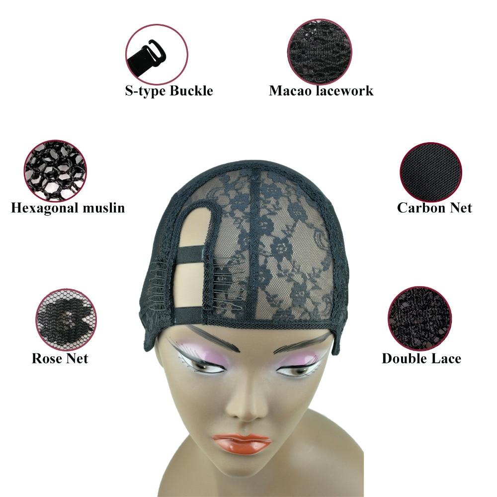 2 Saiz M / L Saiz Kiri kiri Bahagian Yum tenunan Weaving Cap di bahagian dalam untuk rambut palsu Rambut Tambahan weft DIY Warna Hitam