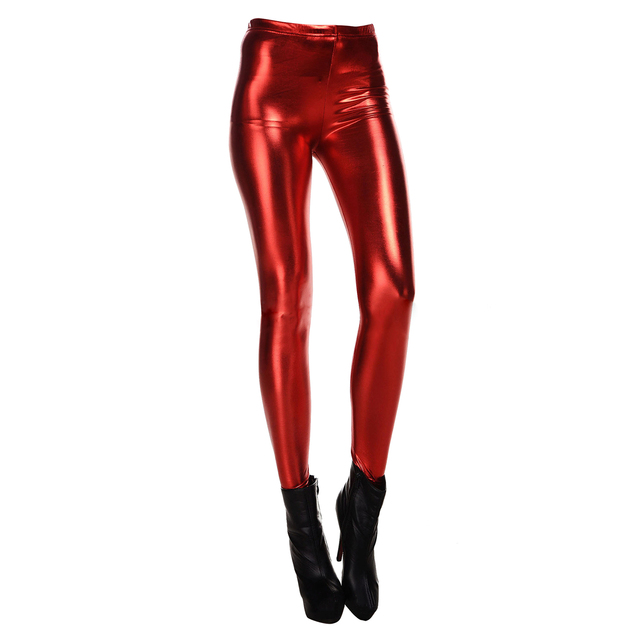 8d94639860ad2 New Fashion Women Leggings Shiny Metallic Color Elastic Waist Skinny Sexy  Pencil Pants Trousers Casual Pencil Trousers Red M