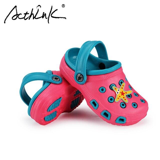 8ece307810c28 ActhInK New Children Summer Croc Soft Beach Sandals Brand Boys Outdoor  Hiking Wading Sandals Girls Sea Aqua Water Croc Shoes