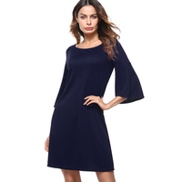 Casual Round Neck Flare Sleeve Spring Dress Women Brief Style Loose Solid Mini Dress ET017