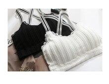 Women's Classic Striped Shoulder Strap Fitness Wear Bra Short Sports Top Seamless Breathable Lace Running Underwear