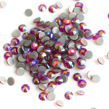 2058HF SS16 SS20 1440Pcs Light Siam AB Iron On Flatback Hot Fix Strass Crystal Pixie Hotfix Glass Rhinestone For Dresses