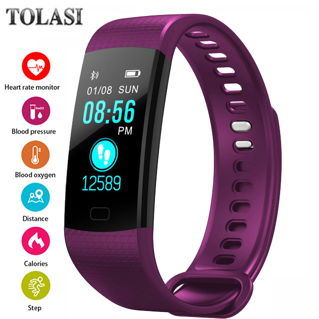 TOLASI Women Men Smart Wrist Band Bluetooth Heart Rate Blood Pressure Pedometer Clock LED Sport Bracelet Watch For Android IOS 2018 men women smart bracelet sport watch bluetooth heart rate blood pressure calories pedometer led smartwatch for android ios