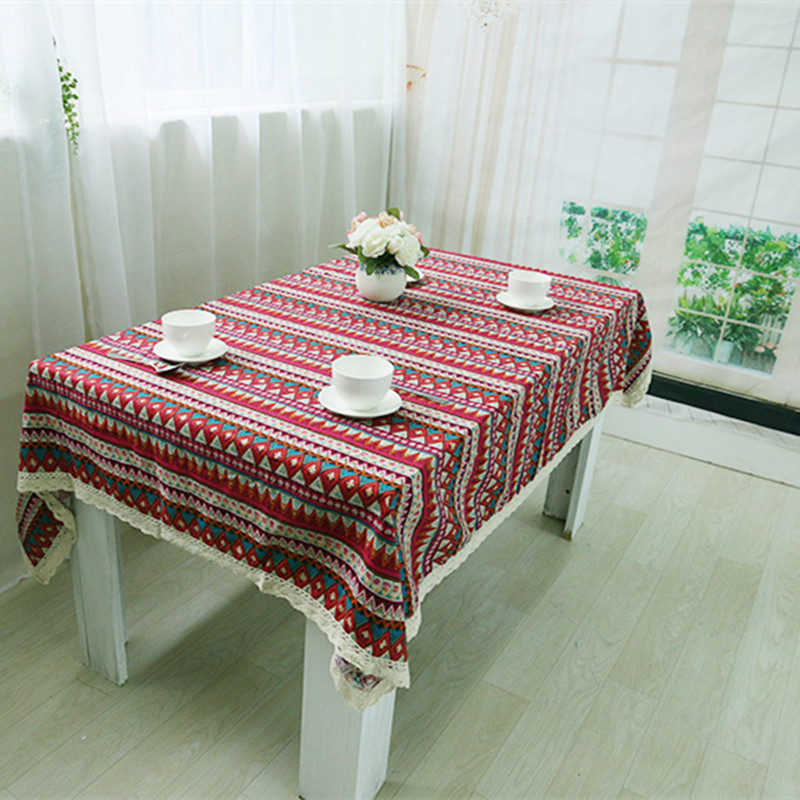 Free Shipping Red Tablecloths Cotton Linen Nice Quality National Wind For  Hotel/Party/Hotel