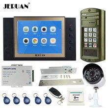 "JERUAN 8"" Color LCD Video Door Phone Record Intercom System kit + Waterproof Password HD Mini Camera + Security Analog Camera"